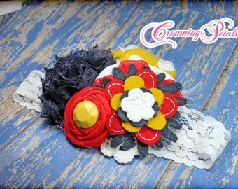 Red, Mustard, Navy Headband, White Hair Accessory, Baby Girl Hair Bow, Hair Accessories, Flower Hair Clip, Fabric Flower Brooch