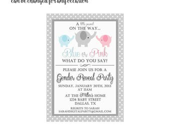Elephant Gender Reveal Party Invitation 4x6 or 5x7 digital you print your own- Design 137