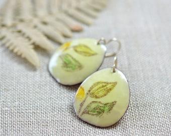 Big Enamel Earrings Artisan Earrings Organic Shape Pebble Shape Earrings Fall Leaves Cream Artisan Jewelry Gift for Her