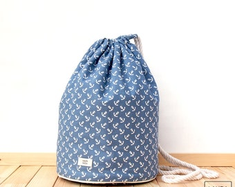 Large cotton beach sack with waterproof anchor liner/anchovies maxi shoulder beach bag with rope strap & waterproof Interior