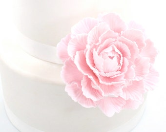 Pale Pink Peony Sugar Paste Wedding Cake Topper by lil sculpture