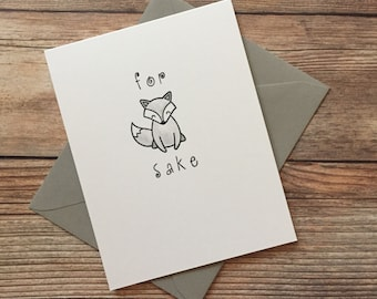 Whimsical Play-On-Words Handmade Blank Gray Fox Greeting Cards, Humorous Cards, Sarcastic Cards, Hello Cards
