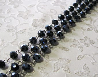"""Faceted Metallic Black Rondelle Glass 6mm x 8mm Beaded Rosary Link Chain One Meter (39"""") Antique Silver 981"""