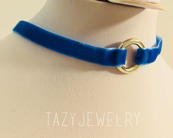 One layer Blue choker , Necklaces Velvet for women with silver chain