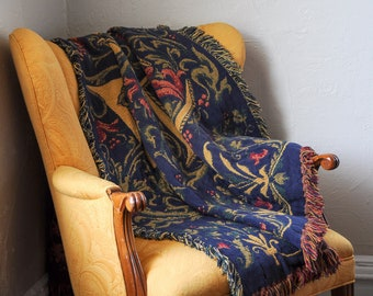 Vintage Jena Hall Tapestry •  The Rug Barn • Floral Blanket • Love Throw • Navy Yellow Home Decor • Romantic Cottage • English Country Cabin