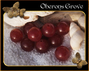 10 red marble beads 8mm