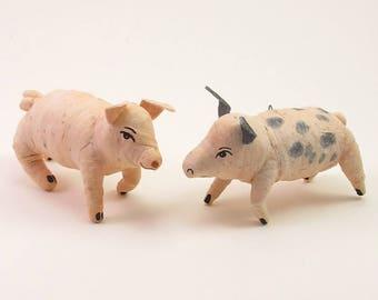 READY TO SHIP Vintage Style Spun Cotton Pig Ornament/Figure