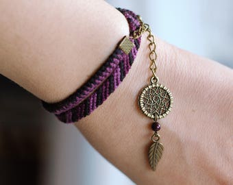 Native american indian wickeln, lila Traumfänger, violett Faser Schmuck, Armband, Fluss Perle traumfängerarmband, Tribal Charme