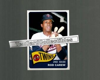 Rod Carew Minnesota Twins New, Custom Made 1965 Style Baseball Card. Mint Condition.