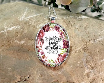 Large Oval- Glass Bubble Pendant Necklace-Do What Is Right Not What Is Lazy
