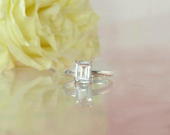 Herkimer Diamond, Emerald Cut Engagement Ring, Emerald Cut Solitaire Ring, Solitaire Ring, Herkimer Diamond Ring, Conflict Free Ring
