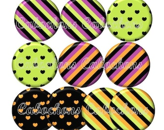 Set of 10 cabochons 25mm glass hearts, stripes, ref ZC125