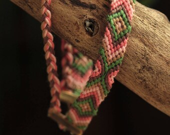 Brazilian mens bracelet, green, Brown and pink cotton, Brown and pink braid