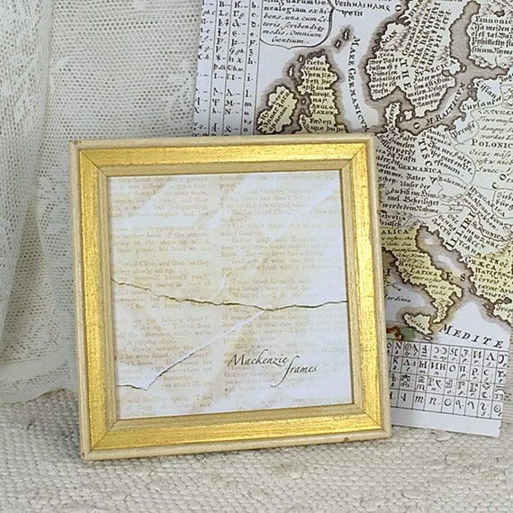 5x5 or 6x6 inch Square Photo Frame Simple Shabby Chic White & Gold ...