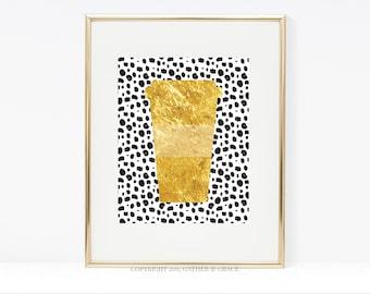 Coffee Printable - Coffee Sign - Coffee Bar - Printable Wall Art - Caffeine Queen - Gift For Her - Caffeine - Coffee Bar Sign - Gold - Black
