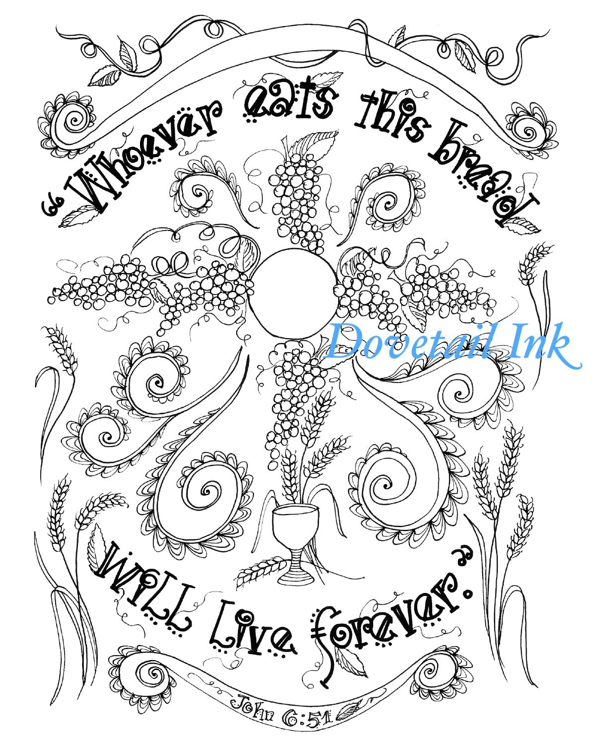 Printable Bread of Life Catholic Scripture Art Coloring Page