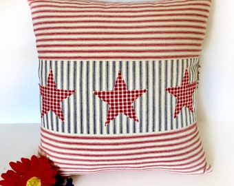 July 4th Pillow, Patriotic Pillow, Americana Pillows, Red White Blue, Stars Pillow, Farmhouse Pillows, Ticking Stripe, Red Ticking, Summer