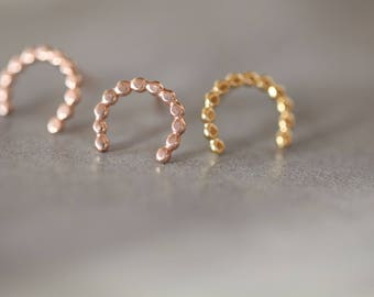 READY TO SHIP. Arc studs, U Gold plated studs, yellow or rose gold over silver. horseshoe earrings,minimalist U earrings