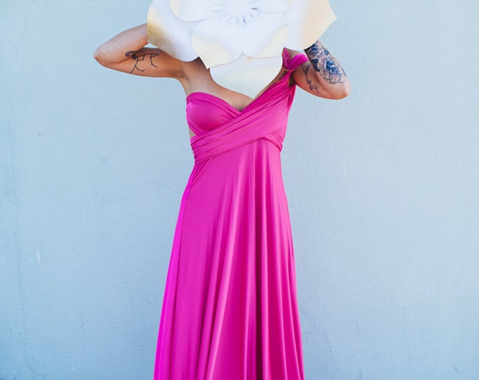 Fiesta Hot Pink-Octopus Convertible Wrap Dress-Long Infinity Gown