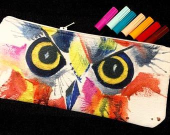 Pencil case or makeup bag made from my original watercolor. Owl