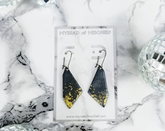 Charcoal Gray Geo Dangle Enamelled Earrings with Gold Flecks