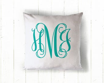Personalized Vine Monogram Pillow Cover, Custom Wedding Pillow Cover, Monogram Throw Pillow Cover, Personalized Pillow Cover, Bridal Gift