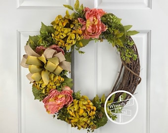 Year Round Wreath, Peony Wreath, Summer Wreath, Front Door Wreath, Door Wreath, Grapevine Wreath, Wreath Street Floral, All Occasion Wreath