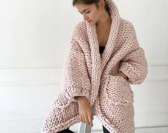 Chunky knit cardigan Oversized chunky cardigan Chunky knit Spring coat Chunky wool cardigan Merino wool coat  Chunky knitwear Loose knit