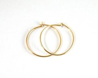 Thin Gold Hoops - Solid Gold Hoop Earrings - 14k Gold Hoops - Minimalist Earrings - Gift For Her - Sleeper Earrings