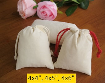 100 Muslin Bags Calico Bags Fabric Bags Jewelry Pouches 4x4, 4x5, 4x6 Cotton Gift Bags