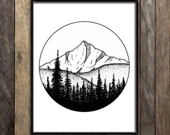 Landscape Print, Mountain Art, Rocky Mountains, Geometric Print Forest Art, Outdoorsy Decor, Sketch Print, Wilderness Nursery, National Park