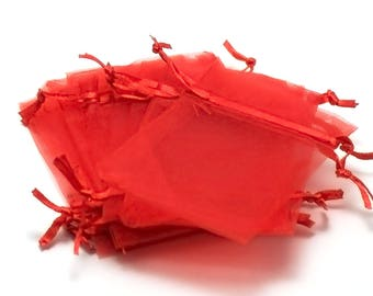 10 little red organza gift bags uni, 65 x 95 mm