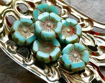 TROPICAL BLOOMS - Opaque Turquoise with Picasso Finish - Flower Shaped Czech Glass Beads - 6 Beads