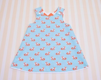 18 - 24 months, baby girl fox dress, reversible a-line dress, pinafore dress with snaps, baby dress with foxes, woodland animals, girl tunic