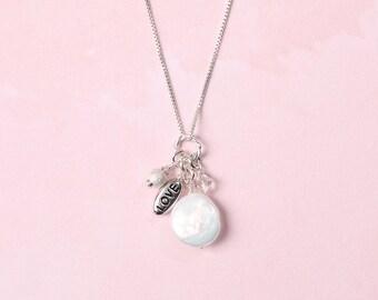 Freshwater Coin Pearl Charm Pendants (Love, Joy, Peace, Hope, Faith)