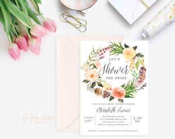 Printable Bridal Shower Invitation /  Shower Invite, Boho Invitation, Wedding Shower, - Elisabeth