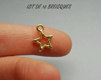 Set of 10 Star charms, gold gilt (S25)