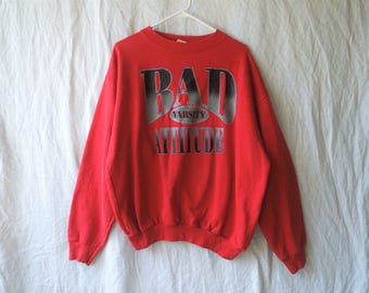 90s Bad Attitude Varsity Sparkly Red Crew Neck Sweatshirt