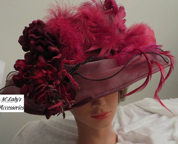 Victorian Style Hats, Bonnets, Caps, Patterns VICTORIAN HAT in Burgundy Organza Embellished with Ostrich Plumes   AT vintagedancer.com