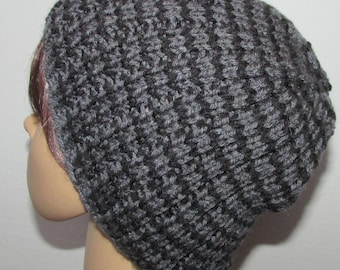 Black and Charcoal Grey Stripped Essential Beanie