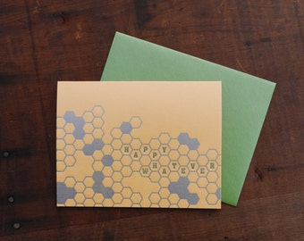 Letterpress Happy Whatever Honeycomb Notecard