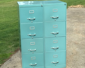 Vintage Aqua Blue Vertical Four Drawer Metal File Cabinet. LOCAL PICKUP  ONLY. Washington, Pa. 15301