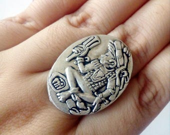 Free Shipping, Gift for Women, Mayan Ring, Statement Jewelry, Mayan Jewelry, Aztec jewelry, Tribal Ring, Vintage Style, Mexican Jewelry