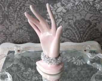 vintage 1950s crystal bead stretch bracelet <> 50s cha cha bracelet <> silver expansion bracelet with aurora borealis multi-faceted beads