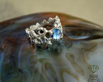 Silver Coral ring Coral  Mother's Day Gift Aquamarine engagement ring  Coral ring Sea jewelry Handmade Ring Silver Boho Ring Ocean Jewelry