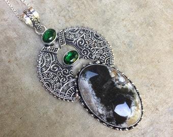 Dendritic Opal pendant, green quartz with 925 sterling silver chain. Bohemian pendant. Dendrite Opal and green quartz pendant with chain 18'.