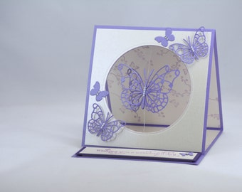 Purple Butterfly Birthday Card Easel Card