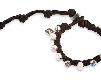 Perla: Swarovski Crystals + Freshwater Pearls Bracelet