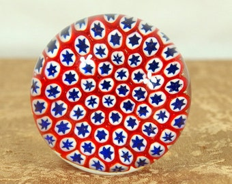Paper weight, art glass, millefiori cane art, close packed, red, white and blue, stars