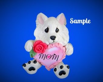 Samoyed Dog Mom Heart Rose Sculpture OOAK Clay art by Sally's Bits of Clay